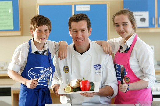 Sewell and Nicole England from Largs Academy joined chef Steve Craik during a demonstration.