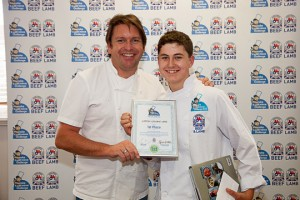 Winner Keaton Leyland-Jones and chef Jamie Martin.