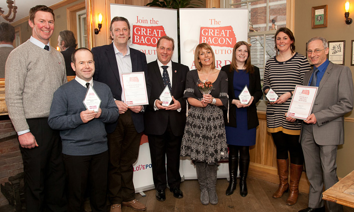 Champions from left: Andrew Shufflebotham and Simon Roberts from Cheerbrook Quality Farm Food, Christopher Cox and Steve Hind from Midland Bacon, Fay Ripley, Fiona Jones from Cranswick and Ellen Streatfeild and Philip Scandding of Denhay Farms.