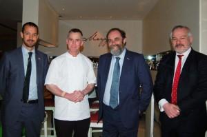 From left - Edward Hobart, HM Consul General, British Embassy, Dubai, celebrity chef Gary Rhodes, Food & Farming Minister David Heath MP and Jean-Pierre Garnier, EBLEX export manager.