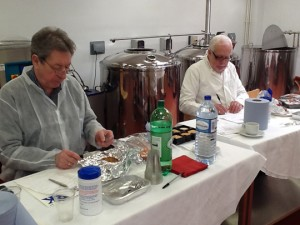 Judges Keith Fisher, BPEX (left) and food industry consultant, Andrew Garvey getting down to work.
