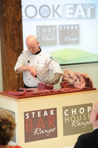 EBLEX's Martin Eccles puts a meat cleaver to proper use during a demonstration at the Tower of London!