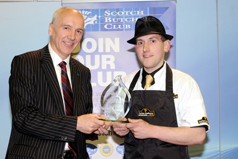 Gary Raeburn with his Scotch Butchers Club Meat Skills Scotland Championship trophy