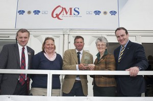 Andrew and Claire Robinson of The Morrisons Farm, Dumfries House Estate, receive their award from Maimie Paterson and are joined by Jim McLaren, QMS chairman (far left) and Paul Wheelhouse MSP (far right).