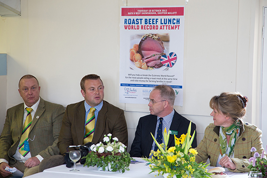 L-R: Elwyn Pugh (Asda agriculture manager at ABP), Pearce Hughes, (agriculture manager, Asda),  Paul Burrows (chief executive, R.A.B.I.), Minette Batters (Ladies in Beef co-founder).