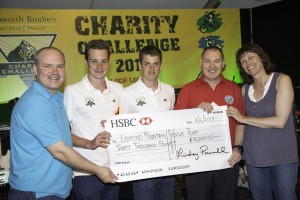 Lomond Mountain Rescue team receiving £30,000 cheque donation - left to right, Paul Davey, Bradgate Bakery managing director and Challenge organiser; Alistair Brownlee, Jonathan Brownlee, Dave Dodson (Lomond Mountain Rescue Team) and Lindsey Pownall, Samworth Brothers Group chief executive.