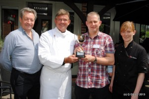 Martin Player butchers (3rd from left) is presented with his Burger Trophy from the judges.