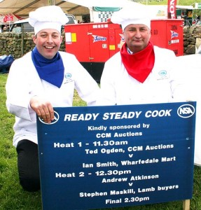 CCM's Ted Ogden, left, prepares, for his cook-off with Wharfedale's Ian Smith at NSA North Sheep 2013.