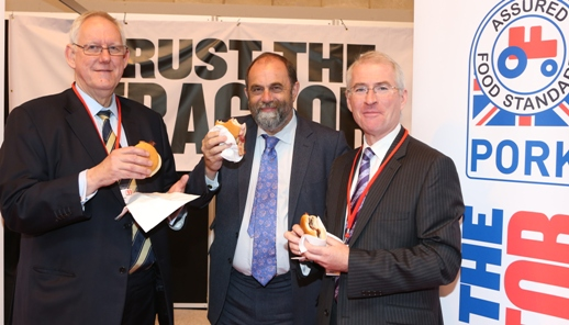 Pictured (L-R): John Godfrey, AHDB chairman; Minister of Agriculture & Food, David Heath MP; and BPEX chief executive, Mick Sloyan at MEATUP 2013.