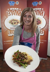 'Stir-fry queen' Eve Muirhead posing with a Scotch Lamb stir-fry which features in the new campaign.