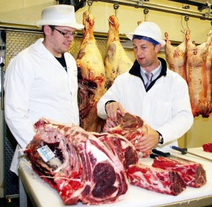 Mark Owens, executive chef at the Craven Heifer (left), is pictured making his choice from the signature beef range at R&J Yorkshire's Finest.