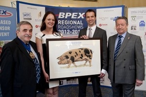 Last year's winners: Pictured from left: Master of the Worshipful Company of Butchers Mark Adams, Charlotte and Gordon Atkinson from Elite Meat and BPEX Butchery and Product Manager Keith Fisher.