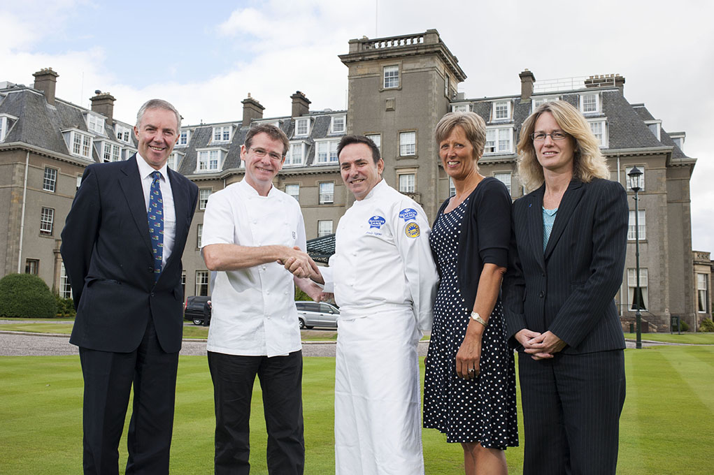(L-R): Gareth Baird, BUAS Bicententary Committee Chairman; Andrew Fairlie; Paulo Neves, BUAS Bicentenary Roux Apprentice Award winner; Vicky MacDonald, Programme Leader of Catering and Hospitality, Borders College; and Carol McLaren, QMS Head of Communications.