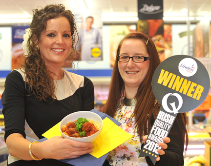 Pictured (L-R) in the new Lidl Omagh store celebrating their success at the recent at the Irish Quality Food Awards are Lucia Christy, Project Manager, Lidl Northern Ireland and Rita O'Kane, New Product Development Manager, Linden Foods.