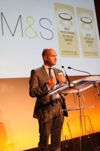 Mark Atherton-Ranson, Agriculture Sourcing & Animal Welfare Manager, Marks & Spencer, accepting their CIWF award.