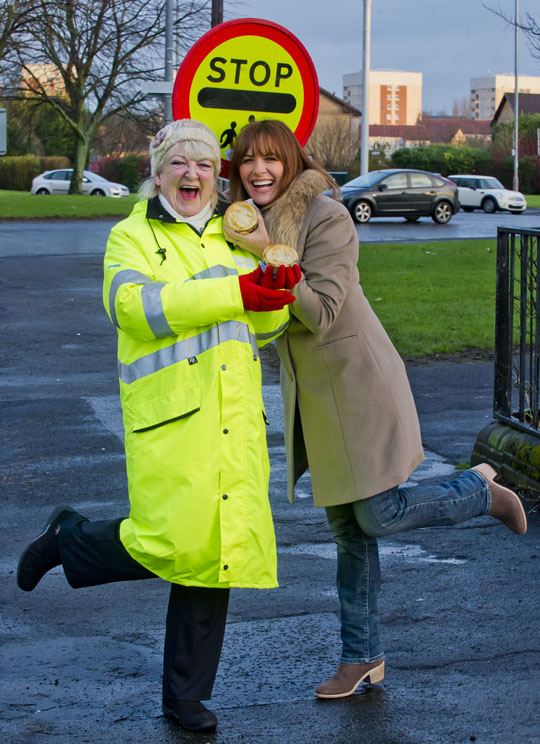 Glasgow lollipop lady, Dorothy Gaffney, was surprised with a tasty pie by Scottish celebrity Carol Smillie to launch a new campaign celebrating pies.