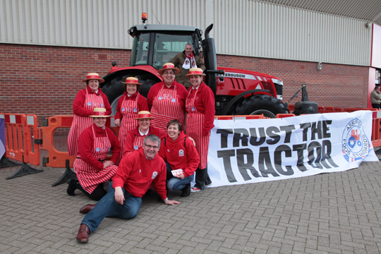 BPEX chairman, Stewart Houston (a Sunderland supporter) is pictured in the tractor outside the club along with Richard Cattell and Ladies in Pigs.