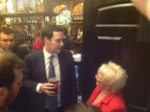 Gill Owton of Owton Butchers chews the fat with George Osbourne.