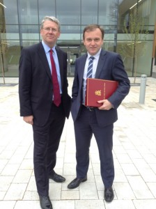 AHDB chairman, Peter Kendall (left) and Minister George Eustice at Stoneleigh.