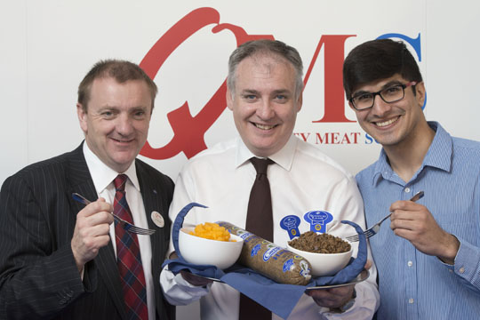 From left Jim McLaren, Chairman of Quality Meat Scotland, Rural Affairs Secretary, Richard Lochhead, and Tushar Kahn of Campbells Prime Meat.