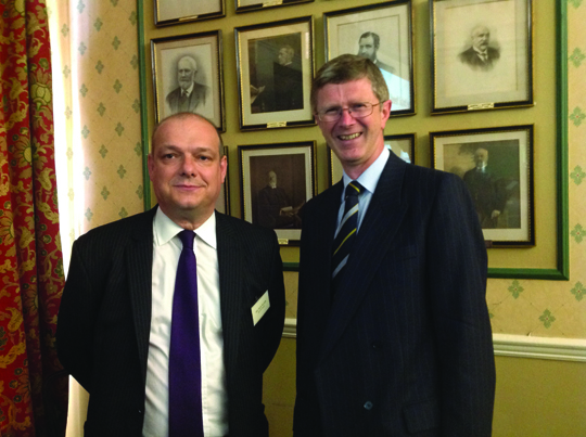 L-R: Presenter of the 22nd Temperton Report for Poultry Research, Nick Major of ForFarmers together with Vice-Chancellor of Harper Adams University, Dr David Llewellyn at The Farmers Club, London.