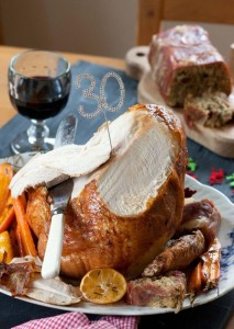 Roasted Turkey Crown with Parma Ham Sausage Almond and Fig Loaf Roman Gravy.© Copyright Michael Powell.