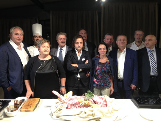 Members of the Scicilliani family and management team with HCC representatives including Chief Executive Gwyn Howells and Italian agent Jeff Martin during the reception.