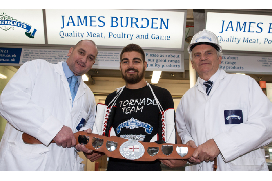 Steve Welch, Tyler Goodjohn and Trevor Hussey, MD of sponsor James Burden Ltd.