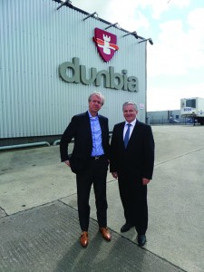 Jim Dobson (r) chief executive, Dunbia pictured with Ronnie Bosma, chief executive, Shannon Meats.