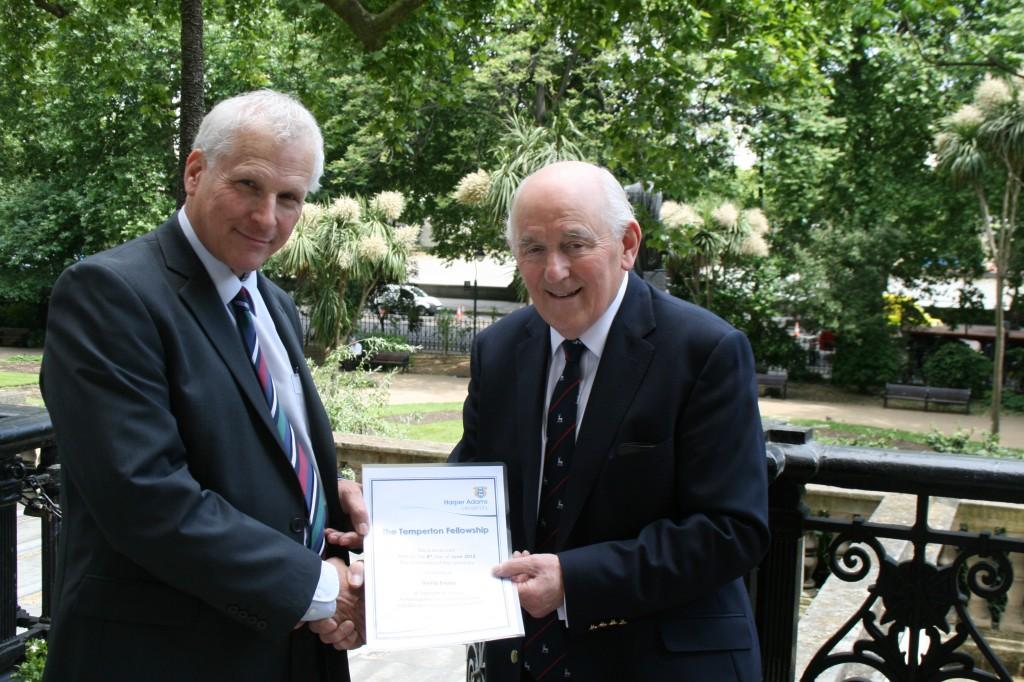David Evans receives the Temperton Fellowship award from chairman Peel Holroyd.