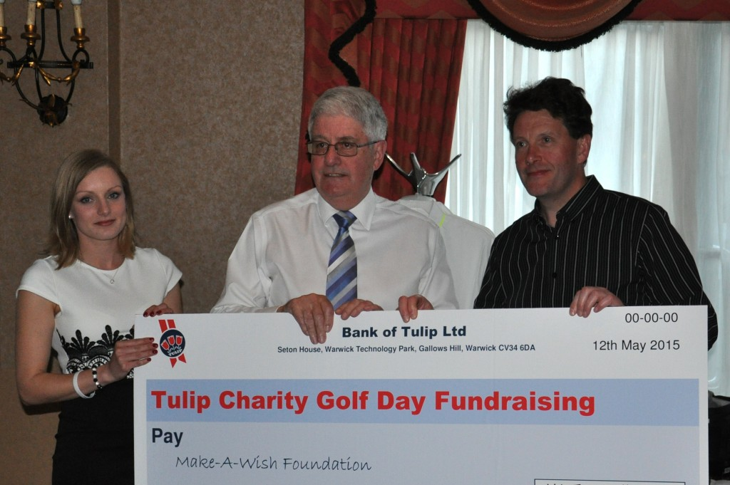 L-R Tulip's Kerry Varney, Garth Murphy, Make-A-Wish volunteer and Chris Thomas, CEO Tulip Ltd.