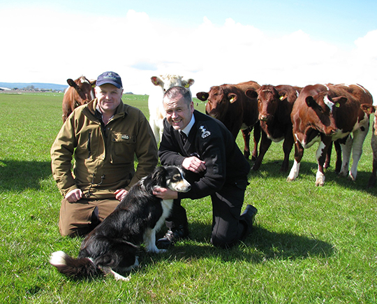 Ross-shire livestock farmer and QMS board member John Scott pictured with Dougie Campbell, Senior Inspector with the Scottish SPCA.