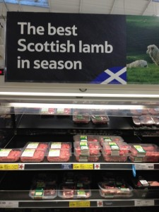Photographs of the Scottish signage and the imported lamb taken at Tesco's Hermiston Gait store.