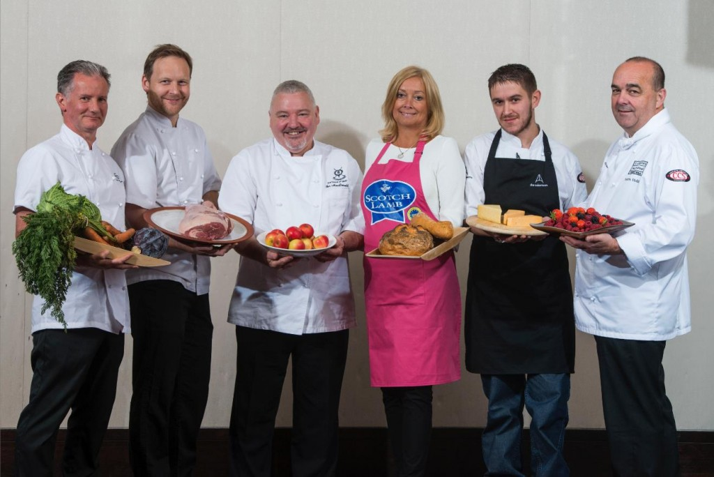 The six leading St Andrews chefs who have created the menu for the St Andrews Food and Drink Festival dinner (L-R): Alan Matthew of the Fairmont St Andrews, Geoff Smeddle of the Peat Inn, Ian MacDonald of The St Andrews Links, Susan Pieraccini of Rocca, Stewart Macaulay of The Adamson and Martin Hollis of the Old Course Hotel, Golf Resort & Spa.
