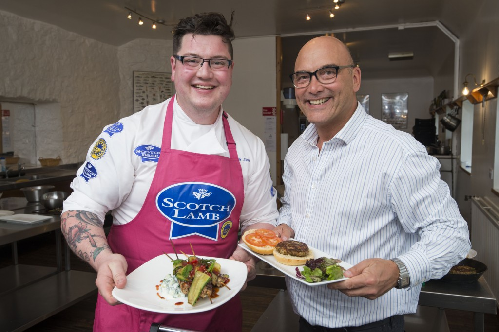 BBC Masterchef host Gregg Wallace was reunited with Masterchef: The Professionals winner Jamie Scott at the launch of this year's Scotch Lamb campaign. The pair cooked quick, simple dishes with Scotch Lamb together. Photo credit: Alan Richardson, Pix-AR.co.uk.