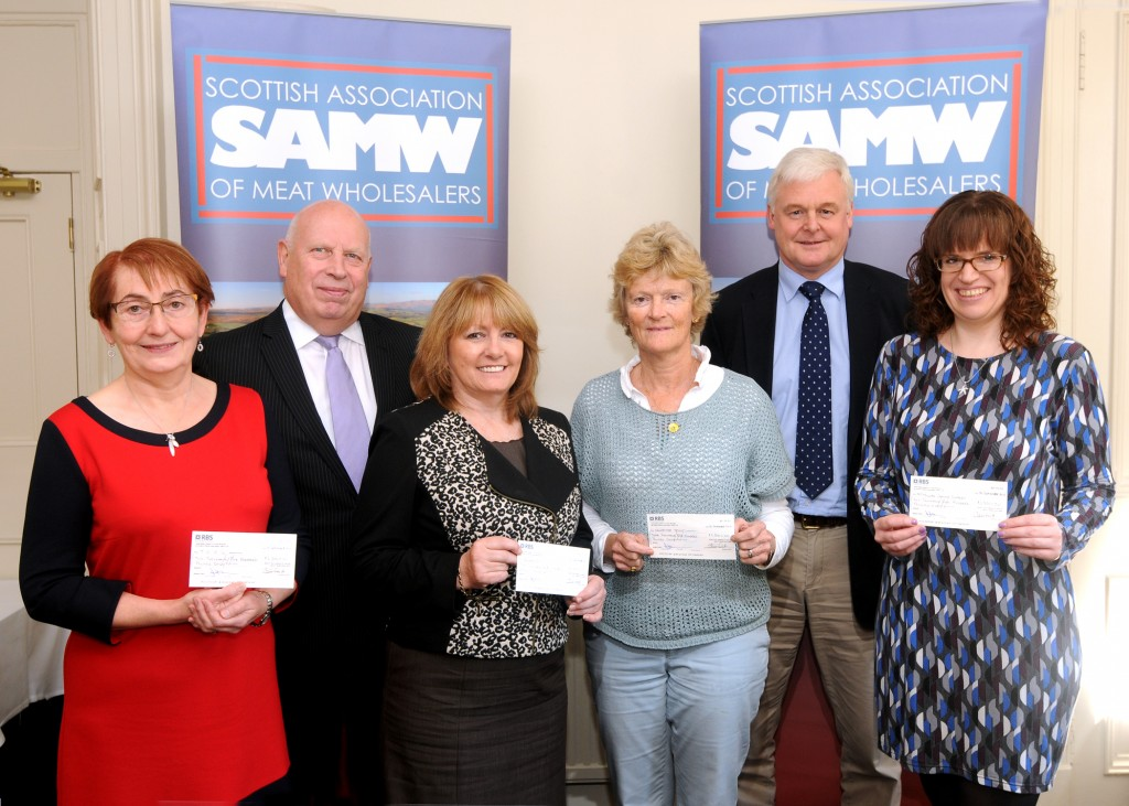 (L-R) Dr Rosalie Wilkie, TCCL Lodge; Ian Anderson, SAMW executive manager; Fiona Scott, Quarriers; Penny Dickson, The Sandpiper Trust; Alan McNaughton, SAMW president, and Jayne Forbes, Macmillan. (The presentation to Beatson was made separately).