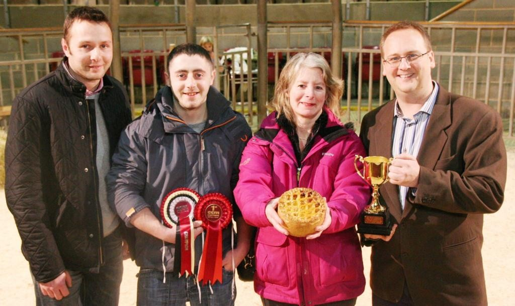 Farmhouse Fare's Janet Green is pictured with her 2015 Great Northern Pork Pie supreme championship-winning speciality pie, joined by, from left, David Hempel, director of sponsors TW Laycock and Sons, Farmhouse Fare's Rob Ogden, and Matt Cornish, of Moule Media.