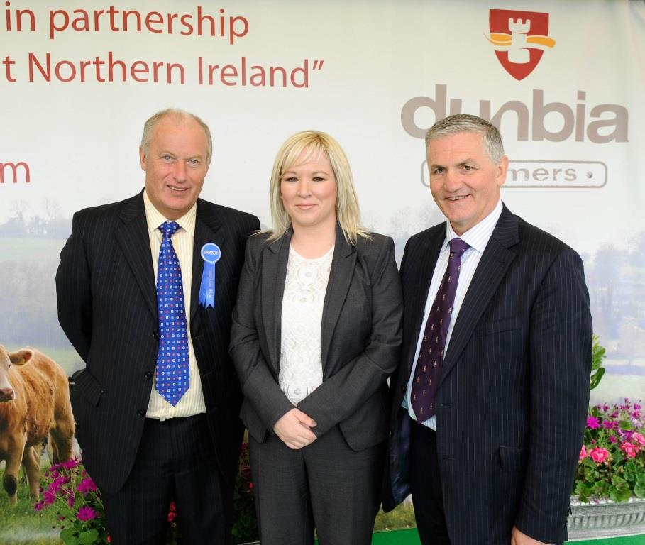 Dunbia group chief executive, Jim Dobson (r), and Dunbia executive director, Jack Dobson, pictured with DARD Minister, Michelle O'Neill MLA.