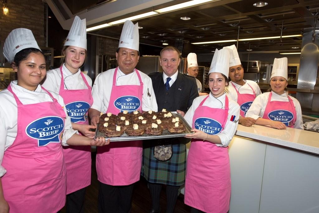QMS chairman, Jim McLaren, is joined by chefs from The Chefs' House in Toronto at a showcase event to celebrate the arrival of Scotch Beef PGI in Canada.