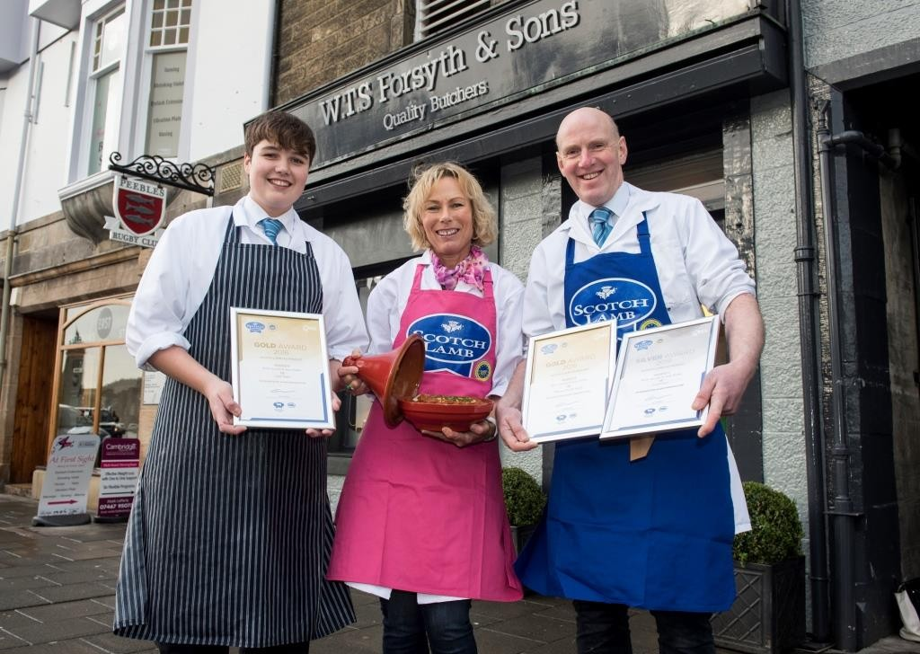 Fearghas Lowther, Louise Forsyth and Callum Forsyth of Forsyths Butchers and Bakers in Peebles with their award-winning Scotch Lamb Tagine and awards.