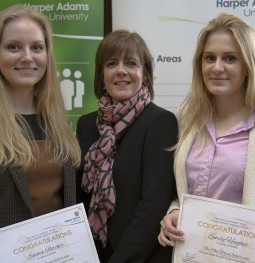 Pictured L-R: Emma Fletcher, who was awarded the Moy Park scholarship two years ago with Moy Park's Katharine Strain and this year's scholarship candidate Emily Hughes.