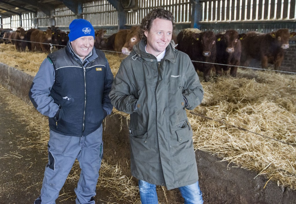 Alan Hunter (left) with Tom Kitchin at Meikle Fieldie farm.