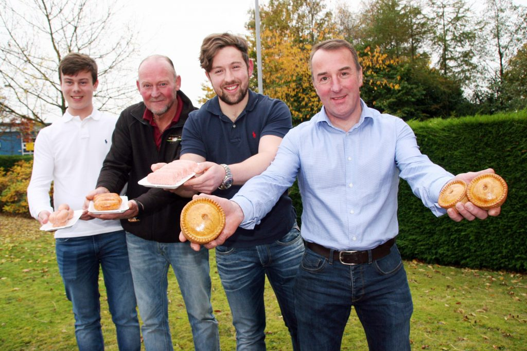 Pictured with their 2016 Great Yorkshire supreme and reserve supreme pies and sausages are, from left, Henry Whitwam, Gary Sugden, Luke Haigh and Simon Haigh.