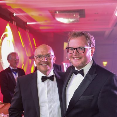 BDCI raffle winner Jon Thorner of Jon Thorners Ltd with Miles Jupp.