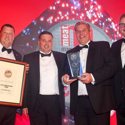 THE CATERING BUTCHER AWARD – Owen Taylor & Sons Ltd L-R: Category partner Rodger Norman of Dawsonrentals, Chris Gillott Factory Manager of Owen Taylor & Sons Ltd, Richard Taylor of Owen Taylor & Sons Ltd and Miles Jupp.