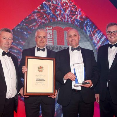 BEST EQUIPMENT/MACHINERY SUPPLIER – Interfood Technology Ltd. L-R: Category partner Gwyn Howells of Hybu Cig Cymru / Meat Promotion Wales, Richard Nethercot of Interfood, Andre Clareboets of Interfood and Miles Jupp.