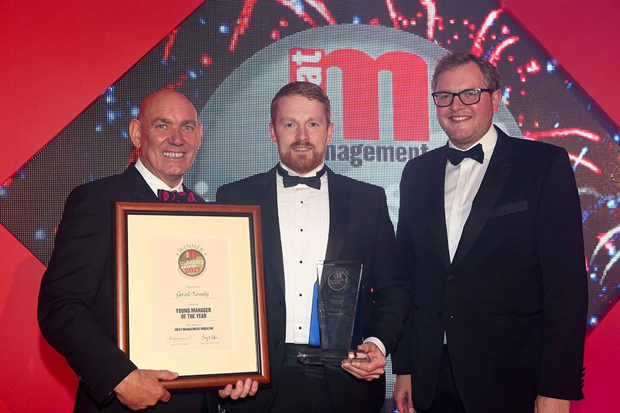 YOUNG MANAGER OF THE YEAR – Gerard Kennedy. L-R: Category partner Seamus Farrell of SF Engineering, Gerard Kennedy of Dawn Meats and Miles Jupp.