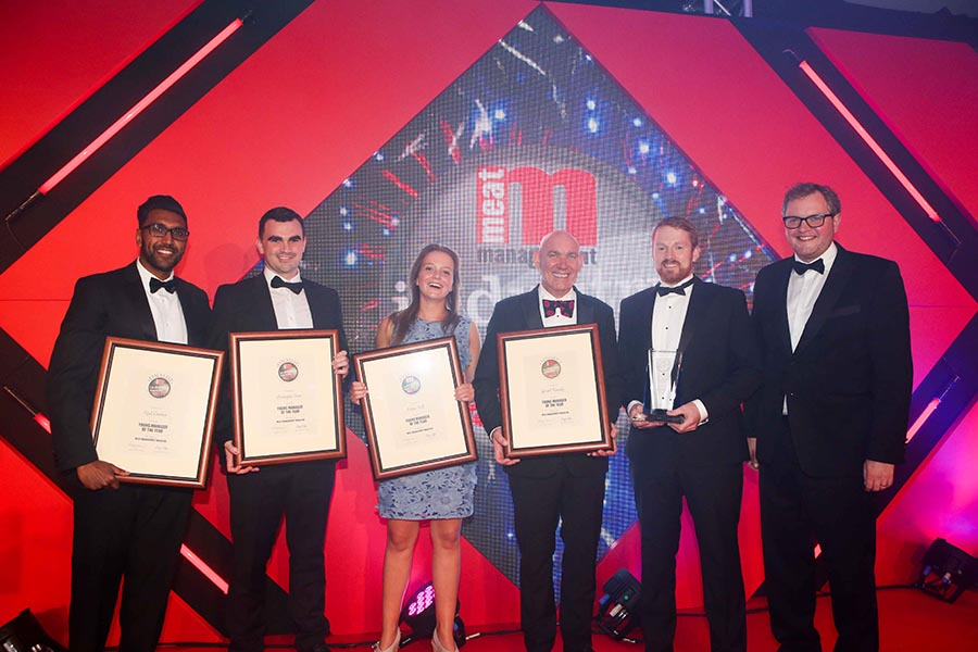 YOUNG MANAGER OF THE YEAR WINNER & FINALISTS. L-R: Vipul Chauhan of Tulip Ltd, Christopher Snow of Foyle Food Group,  Helena Field of Cranswick Country Foods, category partner Seamus Farrell  of SF Engineering, Gerard Kennedy of Dawn Meats (winner) and Miles Jupp.
