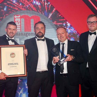 SUPERMARKET / MULTIPLE MEAT RETAILER – Iceland. L-R: Category partner Henry Brook of Multivac, Nick Gray of Iceland, Keith Dixon of Iceland and Miles Jupp.