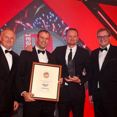 BRITAIN'S BEST MEAT PIE – Yorkshire Baker / Marks & Spencer. L-R: Category partner Andy Lea of Weddel Swift, Paul Robinson of Cranswick Yorkshire Baker, Matt Dawson of Marks & Spencer and Miles Jupp.